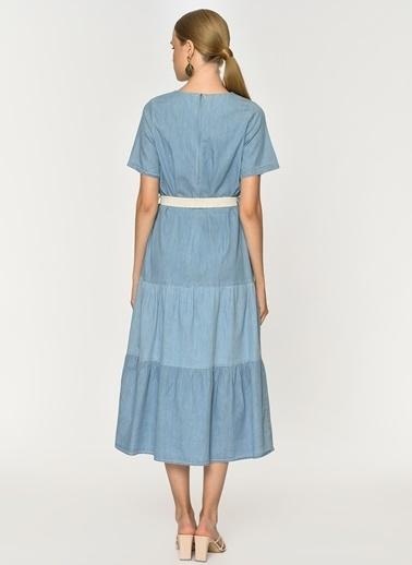 Loves You Eteği Kesik Katlı Denim Elbise Mavi